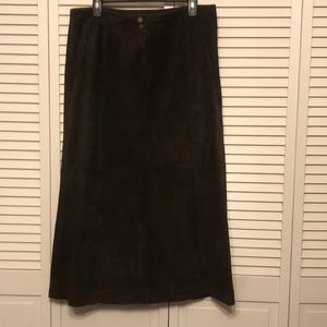 Lauren Ralph Lauren Brown Suede Leather  Skirt .